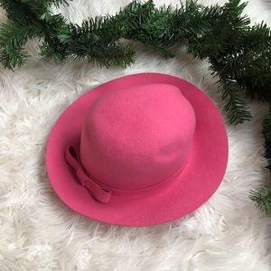 Vintage | pink bow wool hat